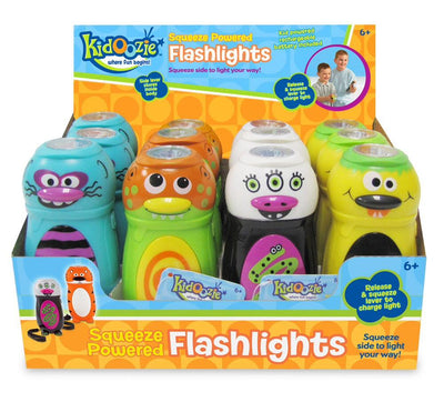 Kidoozie Squeeze Powered Flashlight Asst