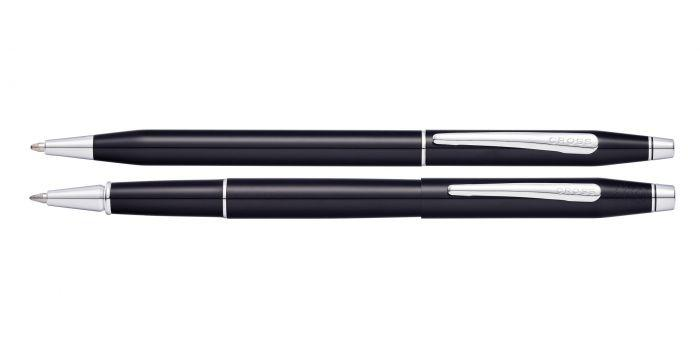 Cross Classic Century Black Lacquer Ballpoint and Rollerball Gift Set