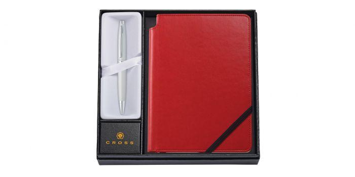 Cross Calais Satin Chrome Ballpoint Pen with Medium Red Journal