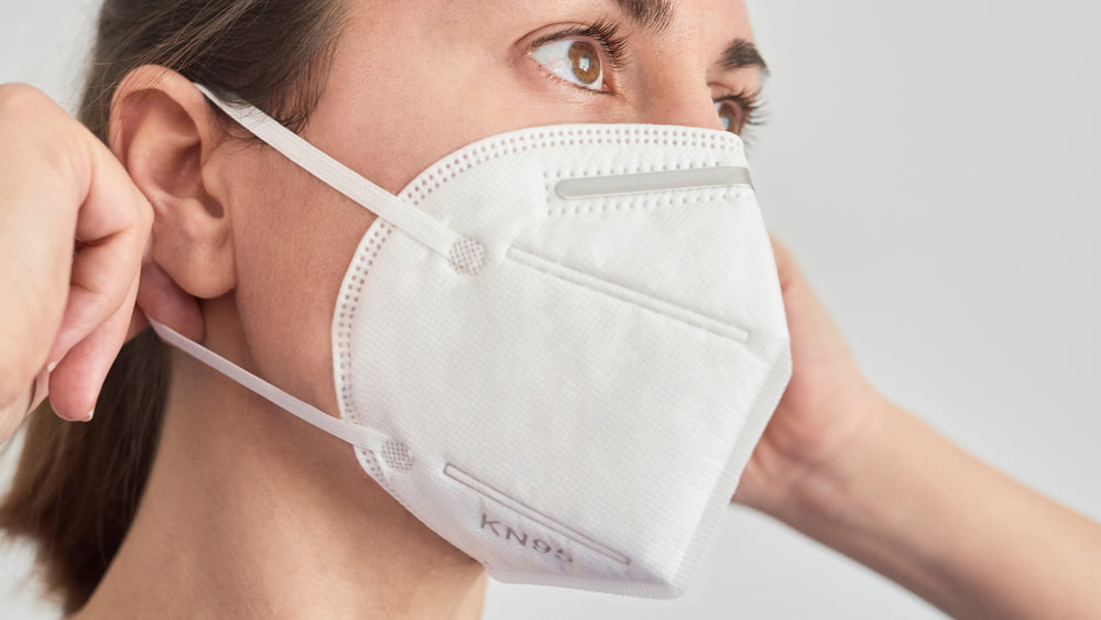 Model Wearing KN95 Respiratory Face Mask