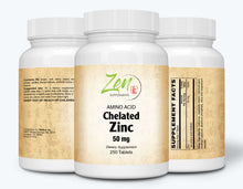 Load image into Gallery viewer, Zinc (Amino Acid Chelated) 50mg - 250 Tabs