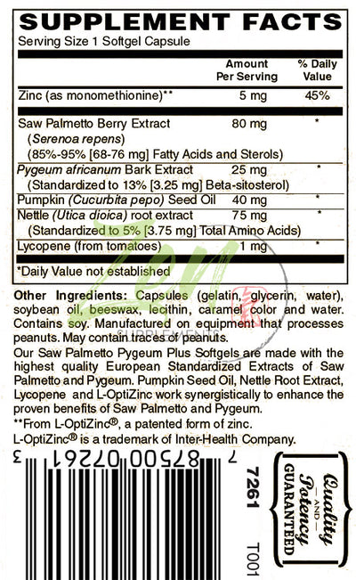 Saw Palmetto & Pygeum Plus - With L-OptiZinc® - 60 Softgel - Zen Supplements