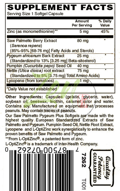 Saw Palmetto & Pygeum Plus - With L-OptiZinc® - 120 Softgel - Zen Supplements