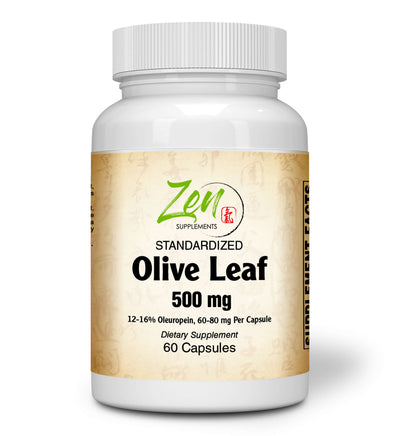 Olive Leaf 500mg - Standardized Oleuropein Antioxidant - 60 Caps