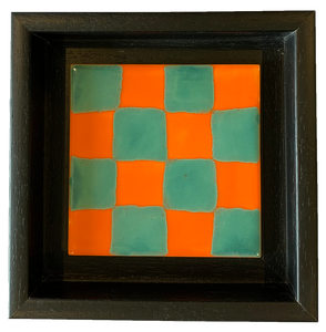 Checkered, orange/turquoise