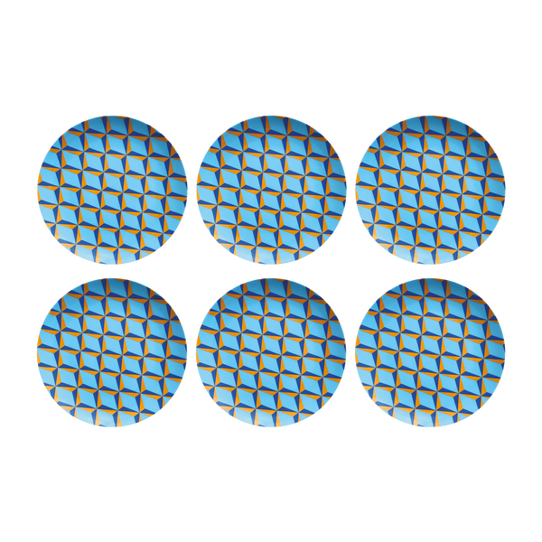 Blue Retro Plates, Set of 6