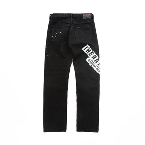 BLACK CRASH PAINT PRINT DENIM PANTS