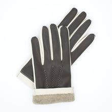 Load image into Gallery viewer, Men's leather gloves lined in 100% cashmere ivory brown art. Jupiter