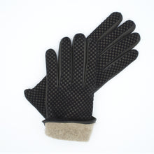 Load image into Gallery viewer, Men's leather gloves lined in 100% cashmere black color art. Uranus