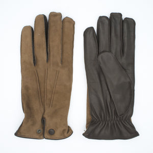 Men's leather gloves lined in 100% cashmere sand and brown color art. Pluto