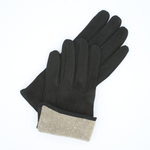 Men's suede leather gloves lined in 100% cashmere dark brown color art. Caesar