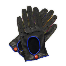 Load image into Gallery viewer, Real leather gloves hand-stitched leather button inserts between colored fingers