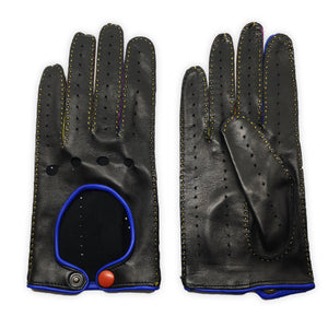 Real leather gloves hand-stitched leather button inserts between colored fingers