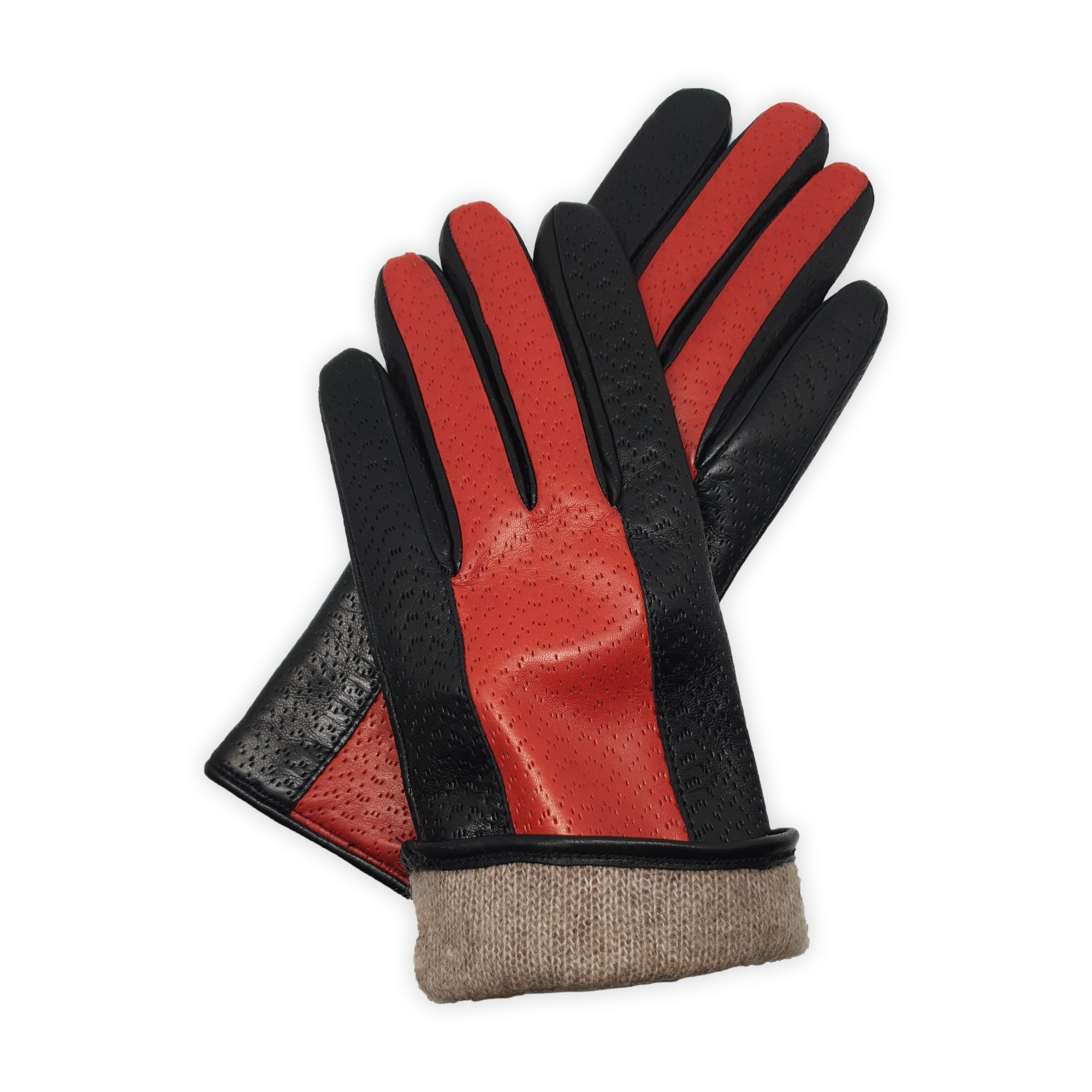 Real leather gloves lined in two-tone 100% cashmere hammered Palermo model