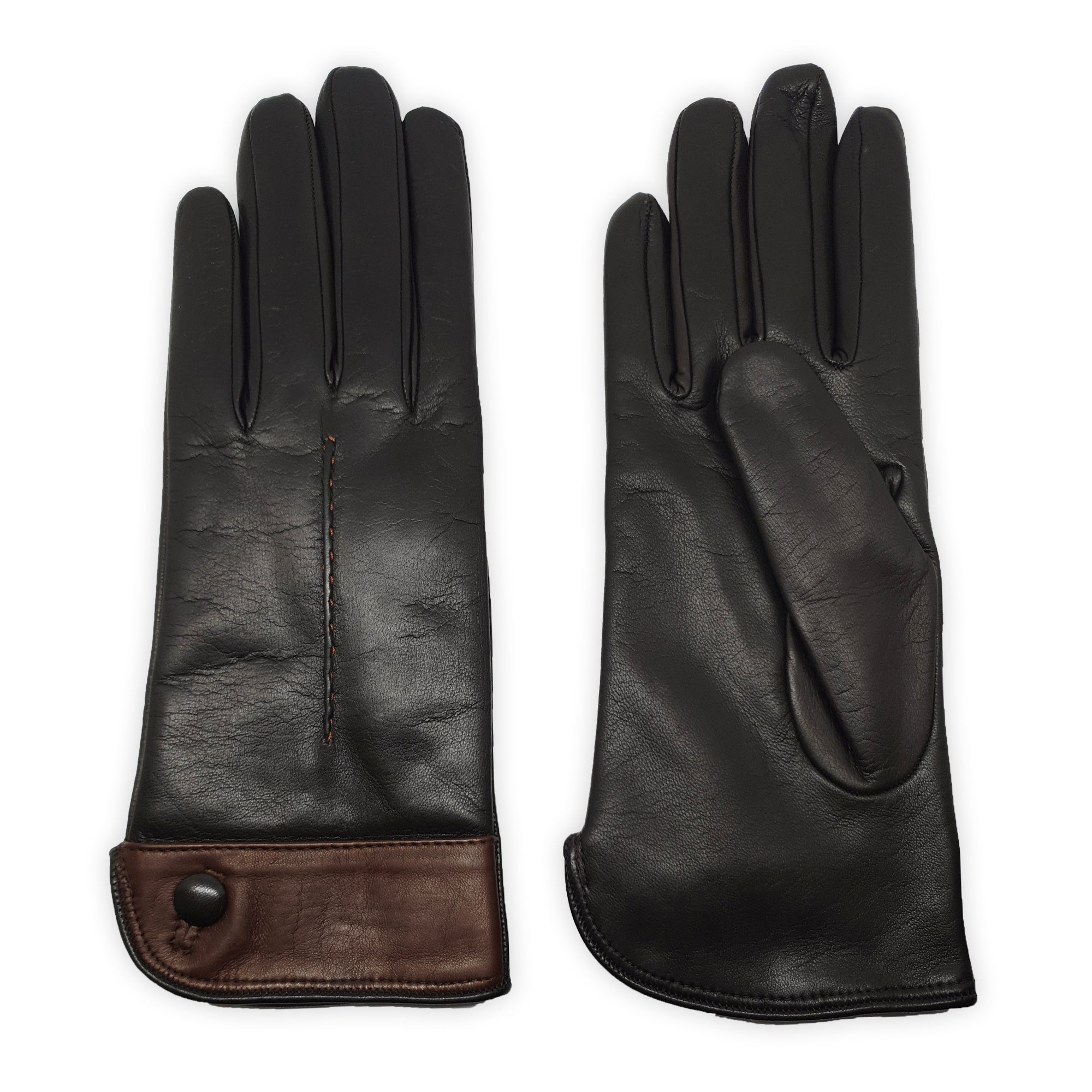 Genuine leather gloves lined in 100% cashmere, leather button, internal stitching