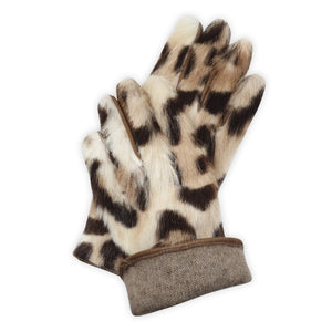 Real leather gloves lined in 100% cashmere with spotted mink back Positano model