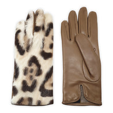 Load image into Gallery viewer, Real leather gloves lined in 100% cashmere with spotted mink back Positano model