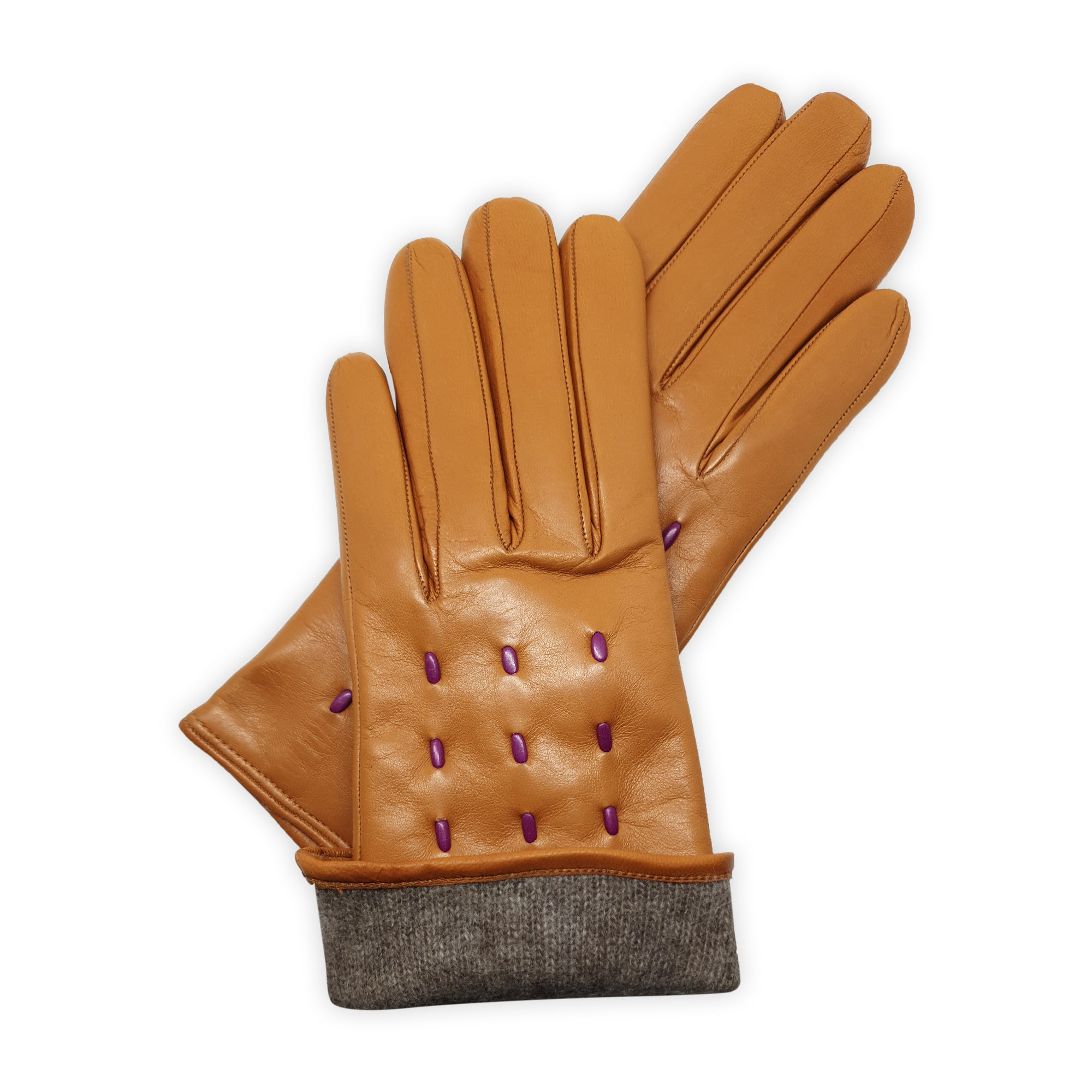 Genuine leather gloves lined in 100% cashmere, contrasting leather cords, Milano model