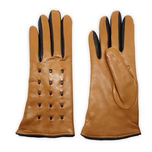Genuine leather gloves lined in 100% cashmere, leather cords