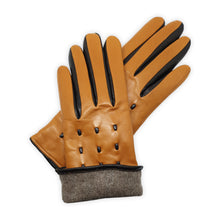 Load image into Gallery viewer, Genuine leather gloves lined in 100% cashmere, leather cords