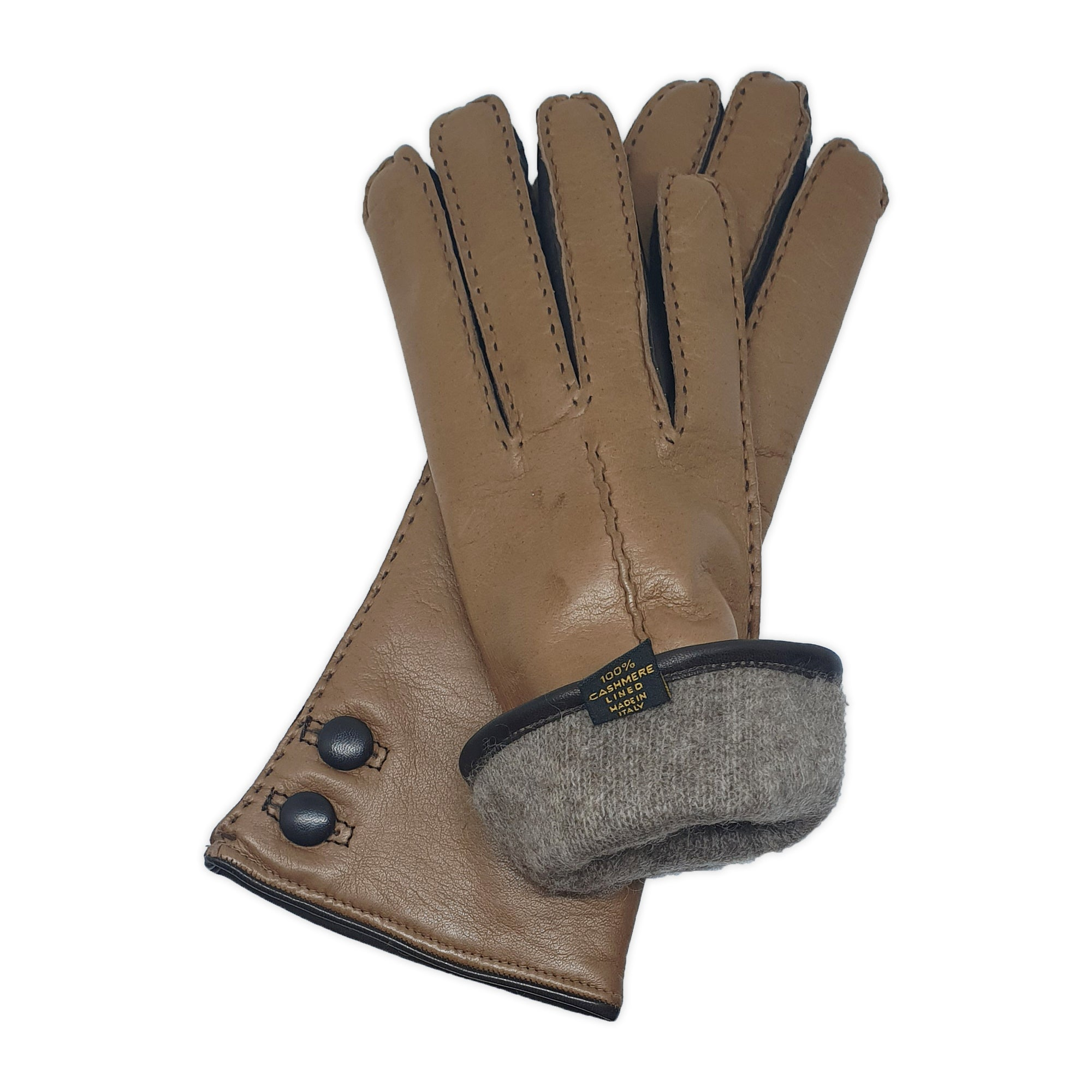 Real leather gloves lined in 100% cashmere, double leather button