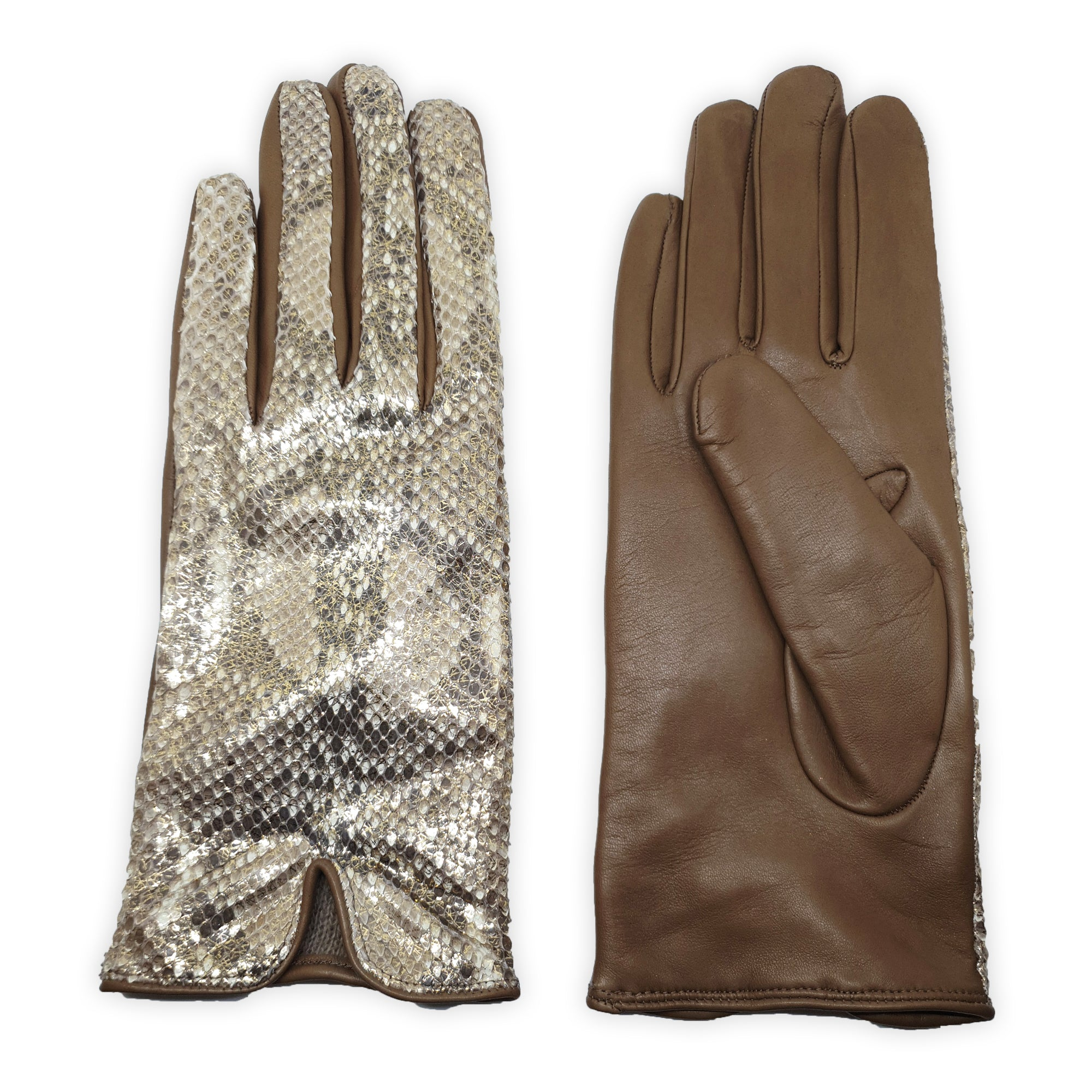 Genuine leather gloves lined in 100% cashmere, python back, Monza model