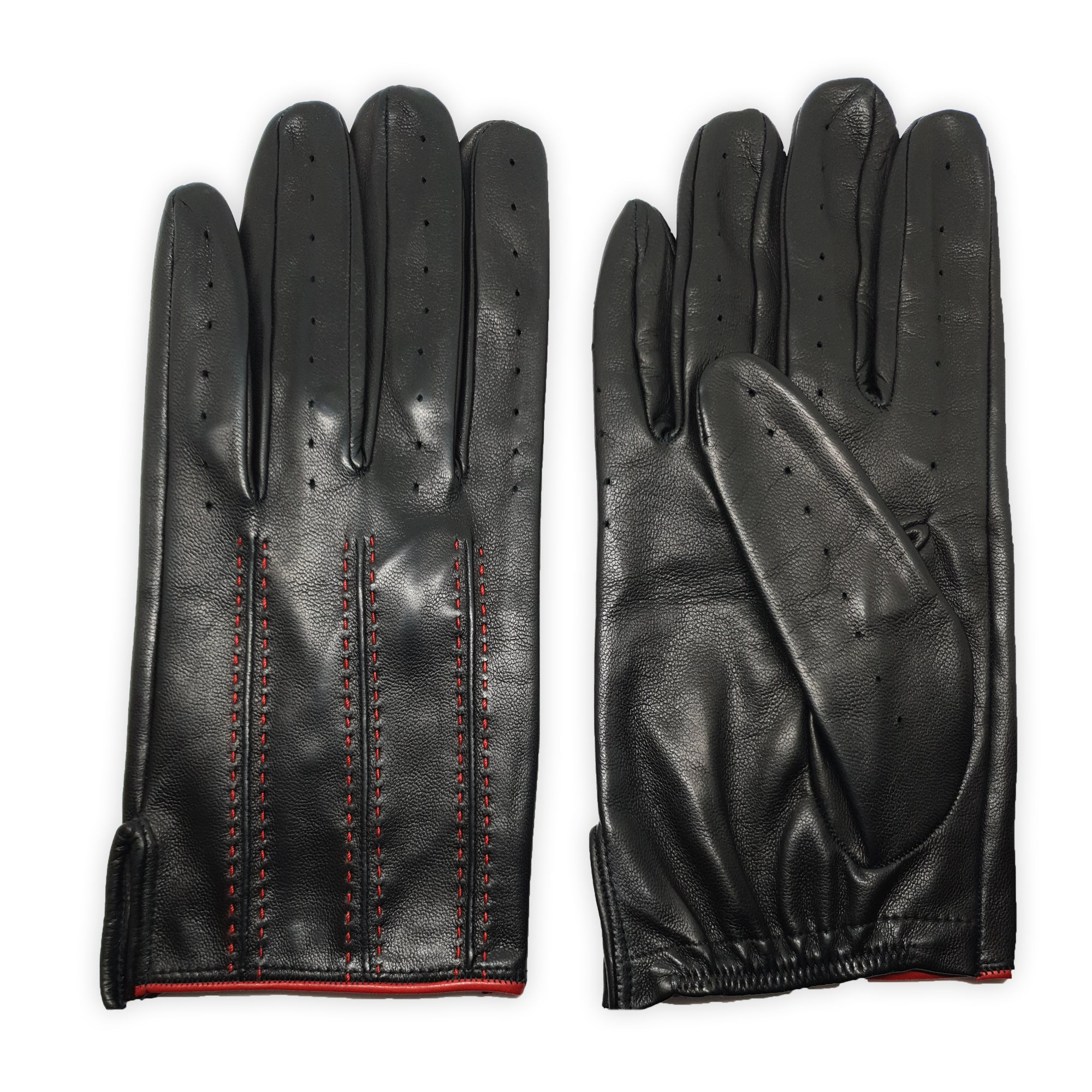 Unlined genuine leather gloves stitched inside contrasting inserts, elastic under the wrist