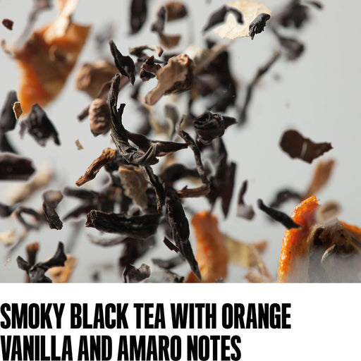 Smoky black tea with orange, vanilla and amaro notes