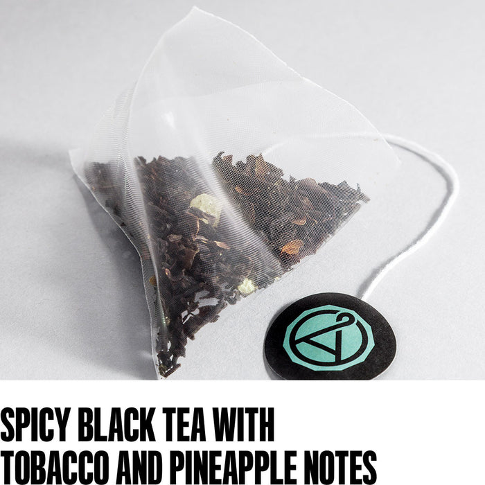 spicy black tea with tobacco and pineapple notes