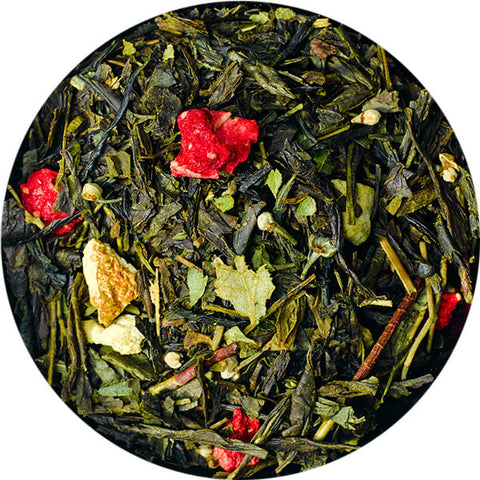 Skylark - organic green sencha tea with forest strawberry and silver linden