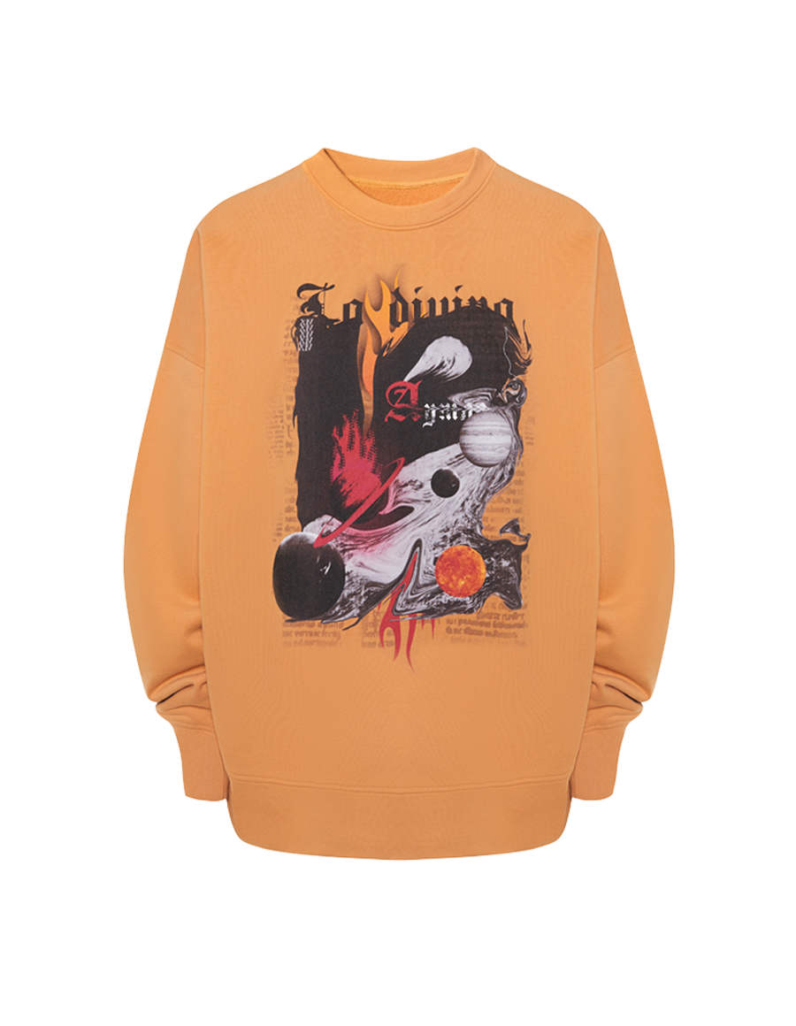 Orange hell printed sweatshirt