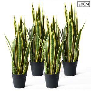 4X 50cm Artificial Indoor Yellow Edge Tiger Piran Fake Decoration Tree Flower Pot Plant