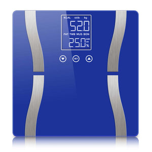 Digital Body Fat Scale Bathroom Scales Weight Gym Glass Water LCD Electronic Blue