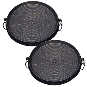 2x Portable Korean BBQ Butane Gas Stove Stone Grill Plate Non Stick Coated Round