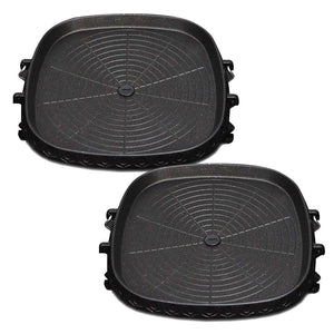 2x Portable Korean BBQ Butane Gas Stove Stone Grill Plate Non Stick Coated Square