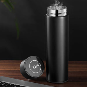 500ML Stainless Steel Smart LCD Thermometer Display Bottle Vacuum Flask Thermos Black