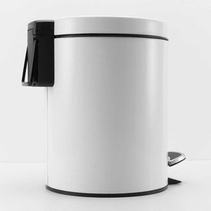 2X 7L Foot Pedal Stainless Steel Rubbish Recycling Garbage Waste Trash Bin Round White