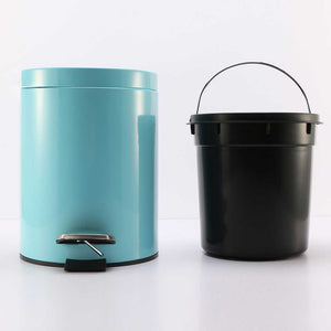 2X 12L Foot Pedal Stainless Steel Rubbish Recycling Garbage Waste Trash Bin Round Blue