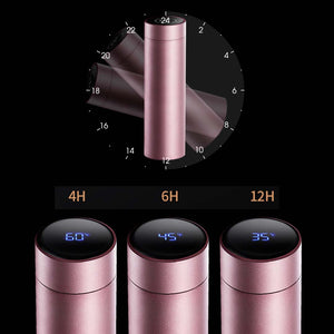 2X 500ML Stainless Steel Smart LCD Thermometer Display Bottle Vacuum Flask Thermos Rose Gold