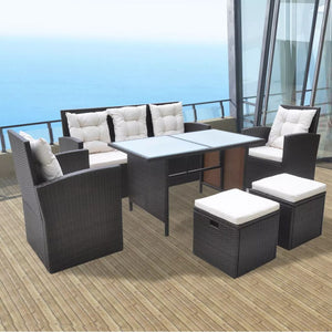 6 Piece Outdoor Dining Set with Cushions Poly Rattan Brown
