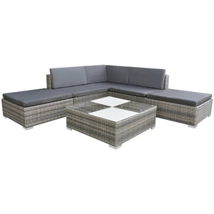 6 Piece Garden Lounge Set with Cushions Poly Rattan Grey sku 42737