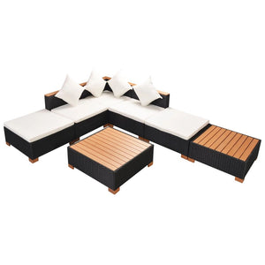 7 Piece Garden Lounge Set with Cushions Poly Rattan Black sku 42757