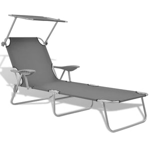 Sun Lounger with Canopy Steel Grey