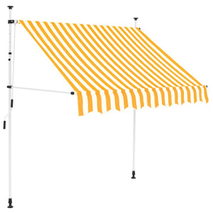 Manual Retractable Awning 200 cm Yellow and White Stripes