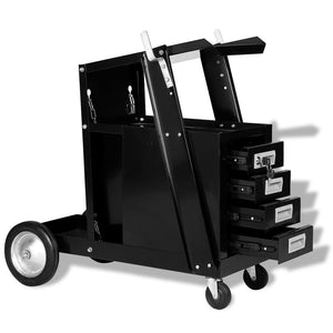 Welding Cart with 4 Drawers Black