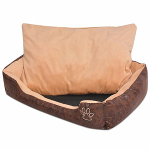 Dog Bed with Cushion PU Artificial Leather Size XXL Brown
