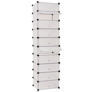 Interlocking Shoe Organiser with 10 Compartments White