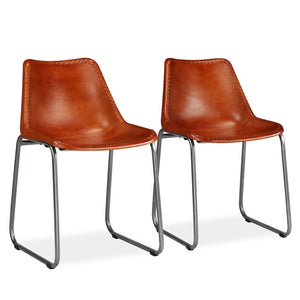 Dining Chairs 2 pcs Brown Real Leather sku-245182
