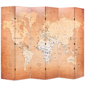 Folding Room Divider 228x180 cm World Map Yellow