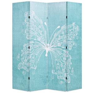 Folding Room Divider 160x180 cm Butterfly Blue